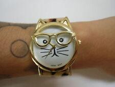 Montre fantaisie tête chat kitty hipster bracelet leopard simili cuir originale