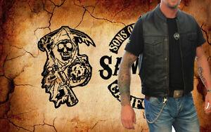 Hommes Cuir Gilet.Biker Blouson moto rocker gilet noir XL