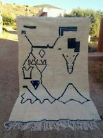Moroccan beni ourain rug Tapis berbere Berber mrirt wool 4'9 x 8'2 150cm x 250cm
