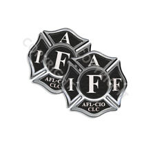"""IAFF Sticker Decals 2pack Firefighter Int'l Maltese Cross Black White 4"""" wide"""