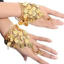 Belly Dance Performance Metal Ring To Wrist Bracelet Bangle Gold Coins Link