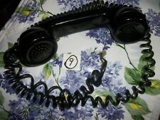 Black No Brand Name Rotary Phone Receiver /Modular Coiled Cord , For Parts!