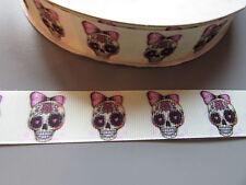 Sugar Skull Bow Grosgrain Ribbon 2.2cm  x 1 Metre Sewing/HalloweenCrafts/Cake