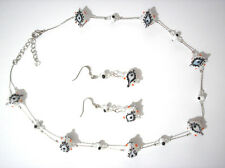 White Glass Bead Evil Eye Silvertone Chain Necklace with Earrings