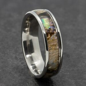 6mm Stainless Steel Mens Womens Natural Shell Silver Wedding Ring - Sizes M to X