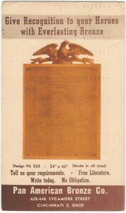 1950 Pan American Bronze Co. Hero Public Tablet Advertising Promotional Card