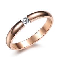 Stainless Steel Zircon Rose Gold Tone Engagement Wedding Ring For Women SJ373