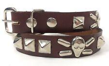 Designer Boys Sz 24 Skull Crossbones & Studs Pirate Brown Leather Belt