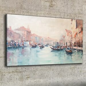 Canvas Print 100x50 Oil Painting Venice Italy Picture Wall Art Framed Decor