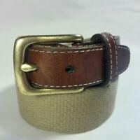 VINTAGE Men's Lands End Leather & Woven Beige Textile Brass Buckle USA MADE-30