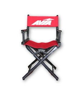 NOS Vintage 90s Avia Shoes Telescope Directors Chair Wood Canvas Backed Red