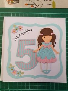 Beautiful girl's birthday card, 5 year old, handmade