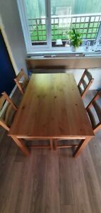 Ikea Pine Kitchen/Diningroom Table & 4 Chairs with seat cushions - Used
