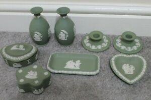 Vintage JOB Lot Green Wedgwood jasperware pot vase trinket box candle holder