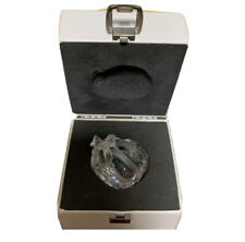 Swarovski Austria Heart Shaped Bow Wrapped Silver Crystal Paperweight With Box