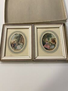 """Vintage Framed Lady Man Child Classical Prints Oval - White Frames 5"""" X 6"""" Boxed"""
