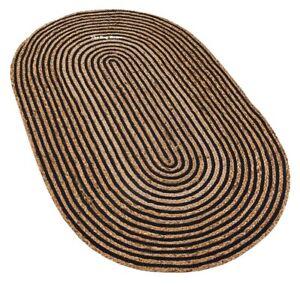 Rug 100% Natural Jute reversible oval rug modern living area carpet handmade rug