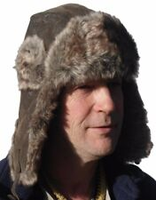 Classic leather look Trapper bomber hat Sz 59cm