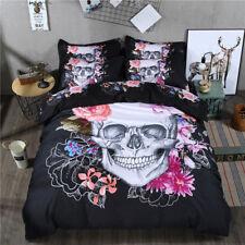 Skull Quilt Doona Duvet Cover Set Queen Size Bed Floral Black 3d Pillowcase