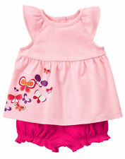 NWT Gymboree Sunset glow Butterfly Top Romper Set Outfit 2PC Baby Girl Sz 6-12 m