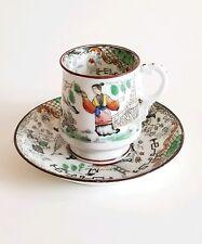 Antique Russian Kuznetsov Porcelain Cup & Saucer Rare Oriental Style