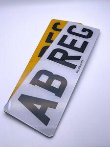 "NUMBER PLATES 13"" PAIR OF SHORT FRONT & REAR MOT ROAD LEGAL CAR REG REGISTRATION"