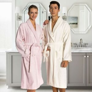 Bamboo Terry Cloth Unisex Mid-Calf Bathrobe with Pockets - Machine Washable
