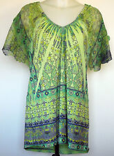 One World Green Poly/Spandex Boho Tunic Top Embellished Embroidered Lace  M