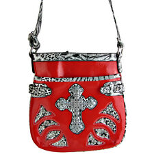 RED STUDDED LEOPARD CROSS LOOK MESSENGER BAG SATCHEL CROSS BODY WESTERN BLING
