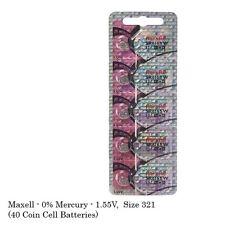Maxell Hologram SR616SW 321 SR616 Silver Oxide Watch Batteries (40Pcs)
