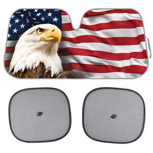3pc US Eagle Flag Sunshade for Car SUV Truck Jumbo Folding Windshield Auto Shade