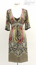ELIE TAHARI Designer Dress Size 10 Medium M 8 12 Career Brown Formal Paisely TDH