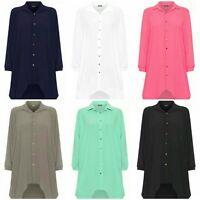 Women Ladies Plain Multi Floral Shirt Dress Long Sleeve Blouse Top Collar Shirt
