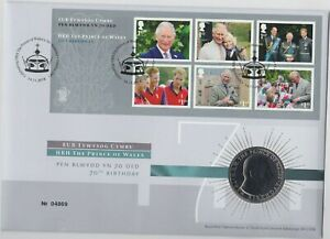 2018 PRINCE OF WALES 70TH BIRTHDAY £5 CROWN STAMP COVER SET NEAR MINT CONDITION