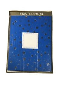 Photo Holder Cards 16 Holiday Blue and Silver Stars