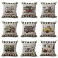 """18"""" Linen Waist Pillow Case Happy Campers Pillowcover Cushion Cases Home Decor"""