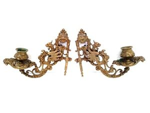 ANTIQUE BEST FIGURAL GARGOYLE DRAGON BRONZE FRENCH GOTHIC 2 PIANO CANDLE HOLDERS