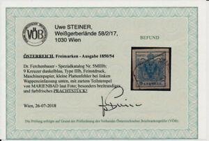 Österreich 1850 9kr DUNKELBLAU! FEINSTDRUCK! PAPIERKORN! P.F.! MARIENBAD