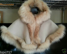 BABY GIRL LONG FLUFFY FAUX FUR HOODED WINTER CAPE COAT PONCHO XS 6-18 MONTHS NEW
