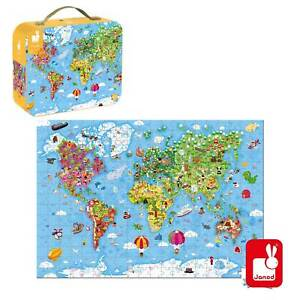 New Janod WORLD MAP 300 PIECE FLOOR PUZZLE age 7-9 years childrens world puzzle
