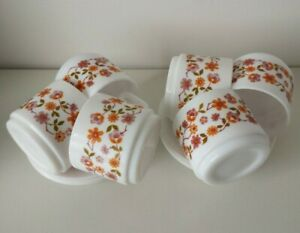 Vintage/Retro Arcopal Scania Orange Floral Milk Glass Cups And Saucers x 6