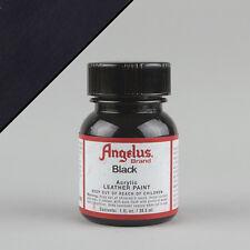 Angelus Acrílico Cuero Pintura Black 1 Oz (28ml) Botella Resistente Al Agua No Crack