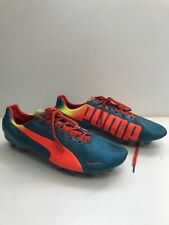 PUMA Size 11.5  Men's Football Boots Trainers Shoes Studded Orange Blue Lace Up