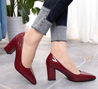 Womens Patent Leather Block High Heels Pointed Toe Slip On Pumps Shoe Party Club
