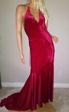 new ASOS CRUSHED RED VELVET fishtail mermaid dress gown us 6 prom RED CARPET