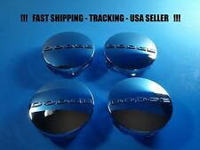 "4 New Chrome Center Caps For Dodge 2.5"" 63mm Center Logo Cap Rim Emblem"