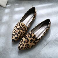 New Womens Casual Flats Shoes Casual Pointy Toe Shoes Pull On Loafers Leopard Sz