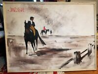 "Midcentury Original Painting By James Roberts, Equestrian, Large 49"" X 37"""