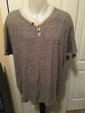 Mens Lucky Brand Extra Large Short Sleeve Striped Casual Shirt Button Detail