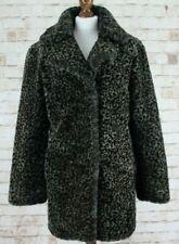 RIVER ISLAND Faux Fur Leopard Print Coat size Uk 10
